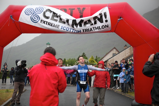 Relief as Graeme Stewart crosses the Celtman finishing line at Torridon