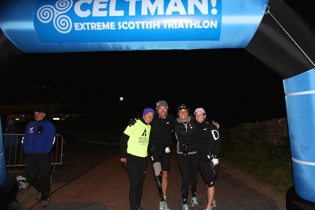 First Amongst Equals - Jeff and his support crew at the finishing line of Celtman 2014