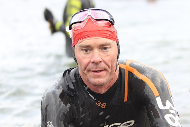 Jeff Glasbrenner emerges from Loch Shieldaig completing the 3.8km course in 62 minutes