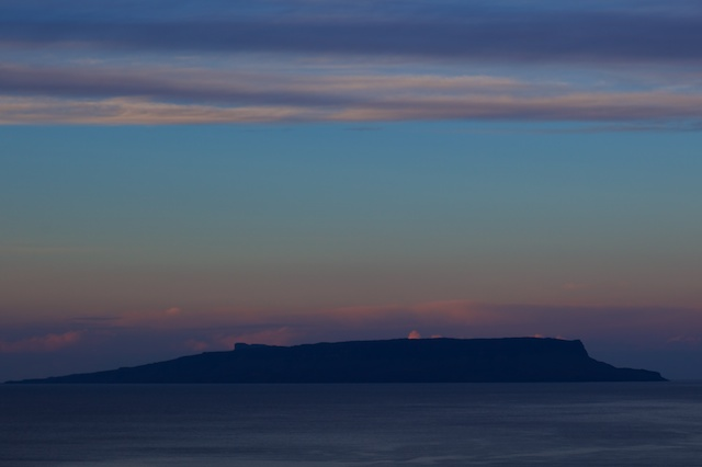 After the strong winds of Sunday night Monday morning, Tuesday brought a tranquil Sound of Sleat with the sun's gentle pastel colours spreading from Morar behind the Isle of Eigg.
