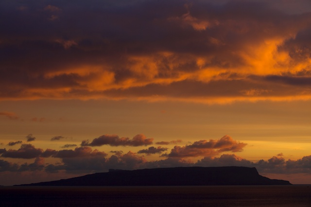 The sun dipping behind the Rhum Cullin gave the most wonderful ochre colour cast to the sky over Eigg