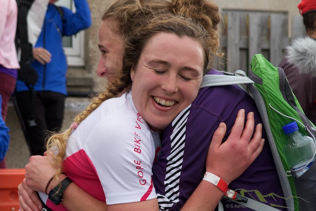 A happy Siobhan Prise at the finish line.  Although Susanne Buckenlei finished with a quicker time in 2012 it was over the shorter course so Prise's exceptional race was rewarded with a deserved record time.  Congratulations.